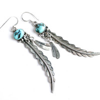 Vintage Sterling Silver Turquoise Feather Earrings -  Retro Dangle Pierced Native American Jewelry / Boho Teal