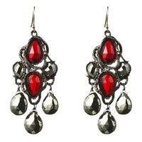 Siyabona Gunmetal Synthetic Garnet Chandelier Earring :: Earrings :: Jewelry :: Alexis Bittar