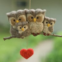 Needle Felted Owl Ornament - Family of Four
