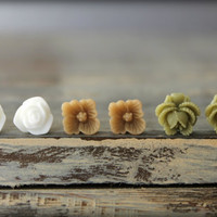 Flower Earring Studs Trio: White Tulip, Chai Sakura Blossom, Olive Rose Bud