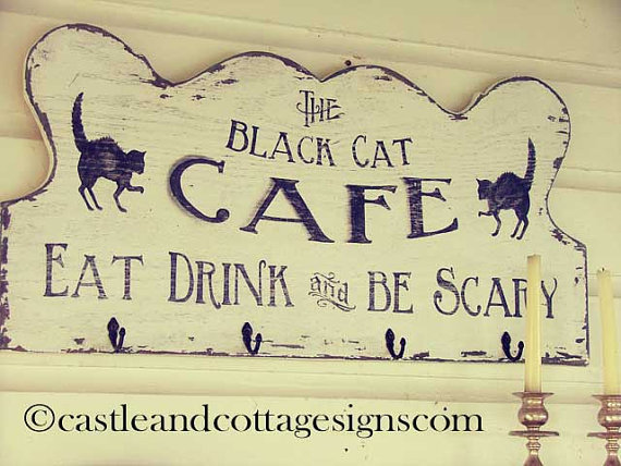 The Black Cat Cafe Vintage Sign Handpainted by castleandcottage
