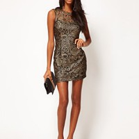 Lipsy Lace Dress With Metallic Print at asos.com