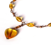Heart Necklace. Heart Earrings. Wonderful Jewelry Set - Brown Yellow