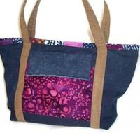 Large Denim Tote Weekender Diaper Bag Purple Pink Blue Batik Handmade