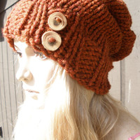 Pumpkin Spice Dark Burnt Orange Rust Slouchy Hand Knit Oversized Ribbed Woodsy Beanie Hat With Wood Buttons