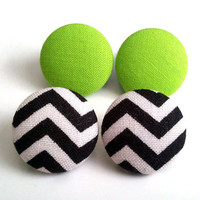2 for 11.50 pop of color earring set. Black and white chevron and lime green fabric button earrings
