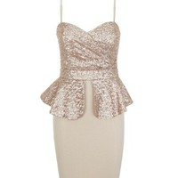 Lipsy Sequin Peplum Dress