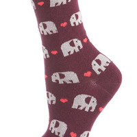 Plum Elephant Ankle Socks