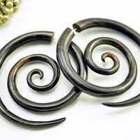 Fake Gauge Earrings Black Wood Double Spiral Tribal Earrings - Gauges Plugs Bone Horn - FG029 DW