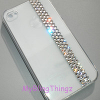 Simply Exquisite Crystal Clear Diamond Bling Rhinestones on Clear Crystal Back Case for iPhone 4 4G 4S handmade using Swarovski Elements