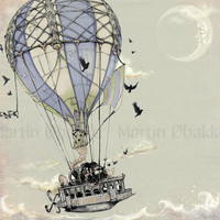 Steampunk Art Print  Hot Air Balloon Steamship   by thefiligree