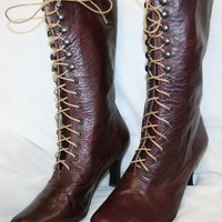 Victorian burgundy Bootssteampunk 7inch High by kioskofoli on Etsy