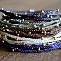 Pick Your Color - Irish Waxed Linen Four Wrap Bracelet - Braided and Beaded