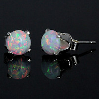 1.3 carats Fiery White Opal Crown Set Stud Post Earrings 925 Sterling Silver 6mm