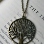 Tree necklace- Family tree Necklace - Antique bronze tree necklace- Round tree pendant- - Nature- Fashion- Fall fashion
