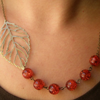 Leaf bib necklace- Red bib necklace- Beaded bib necklace- Antique bronze leaf necklace- Red leaf necklace- Fall fashion- Fall necklace