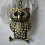 Owl necklace- Large owl necklace- Bird- Nature- Fashion necklace- Owl on a branch