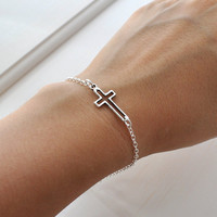 Silver Sideways Cross Bracelet, everyday Jewelry