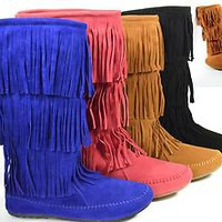 New Fringe Moccasin Mid Calf Flat Womens Boots Round Toe in Black Tan or Coral