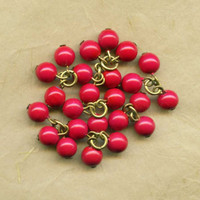 24 Vintage Opaque Red Glass Drops, Set with Brass, Pristine