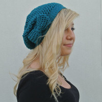 Slouchy Beanie Hat With Bow in Teal/Turquoise