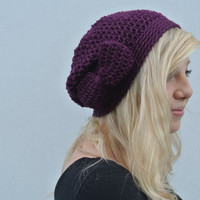 Slouchy Beanie Hat With Bow in Grape Purple
