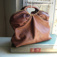 Brown Leather Tote in Caramel Chocolate OOAK by byloomandhyde