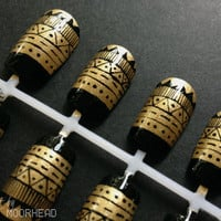Black & Dark Gold Aztec / Tribal Handpainted Nail Art Set