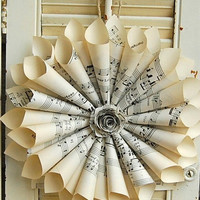 Paper Wreath Vintage Sheet Music Wreath  Hymnal  with Paper Rose Vintage Wedding