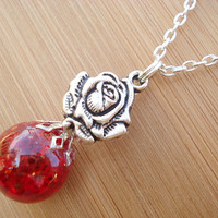 Red Rose Crackle Glass Marble Necklace