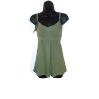 Olive Green Feminine Tank Tunic Juniors Clothing Size Medium