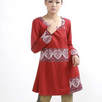 Red ethnic Long shirt (289)