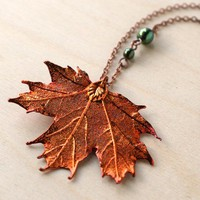 Handmade Gifts | Independent Design | Vintage Goods Fallen Leaf Necklace - Maple - Back in Stock