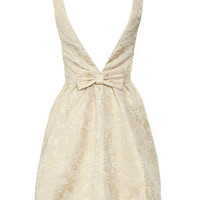 Cream Floral Bow Back Prom Dress