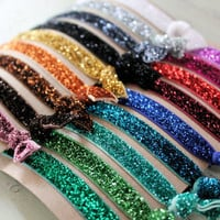 Glitter Elastic Hair Ties - Choose 3 colors - Knotted Hair Ties - Ponytail Holders