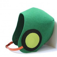 piiqshop - Market Place - Fall Autumn Winter Eco Felt Vegan Aviator Helmet Hat in Green with Black-Lime Green Circle Patches and Orange Vinyl Strap