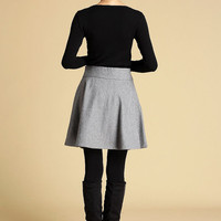 gray wool full Skater Skirt (358)