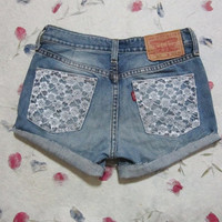 Make To Order - Vintage High Waist  White Lace Gold Cone Studded Cut Off Shorts