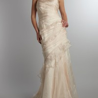 JS Collections Sleeveless ruffle mermaid bridal dress  stole Champagne - House of Fraser