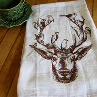 Deer & Birds Tea/Dish Towel-Hand Printed- Chocolate Brown or Black Ink