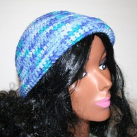 Bright Blue Crochet Cap Variegated Handmade Hat