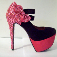 PINK/BLACK SWAROVSKI Rhinestone Shoes W/Bow