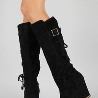 Bamboo Chandler-06 Strappy Knee High Wedge Boot