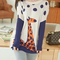 Giraffe &amp; Dots Print Batwing Sleeves Sweater