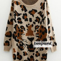 Leopard & Tiger Print Long Sweater