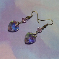 Amethyst Earrings Heart Heliotrope Glass Dangle Large 14.5mm, Pink Faceted Round 6mm Glass Beads, Tiny 3mm Faceted Beads.