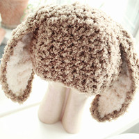 0 to 3 Newborn Baby Hat Bunny Beanie  Crochet Brown by BabaMoon