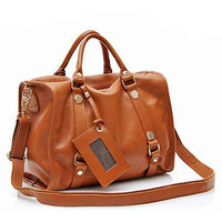 Brown Genuine Leather Bag with Metal Hardware