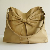 Sale - Khaki Canvas Bag, purse, tote, messenger bag, hobo, bow, cute, stylish  - Martha- Add 1 more get 10% off