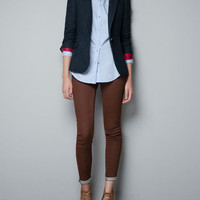CHECKED WOOL BLAZER WITH ELBOW PATCHES - Blazers - Woman - ZARA United Kingdom